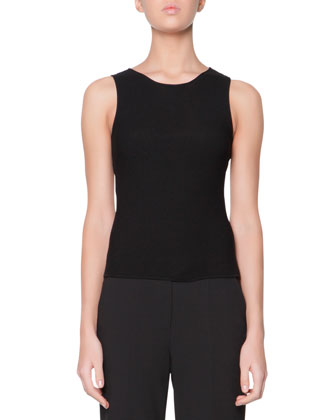 New Textured Ribbed Ottoman Tank, Black