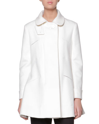 A-Line Coat with Leather-Covered Button & Stretch Wool Cuffed Straight-Leg ...