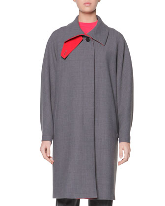 Double-Faced Gabardine A-Line Coat & Cashmere Azure Knitted Mock-Neck Sweater