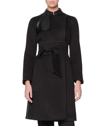 Obi-Belted Cashmere Coat with Leather Panels & Stretch Wool Cuffed ...