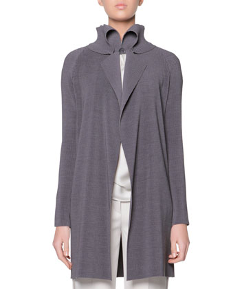 Plisse Exaggerated Lapel Jacket, Sleeveless Drape-Ascot Silk Top & Satin ...