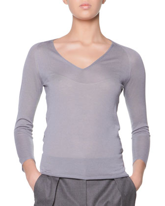 Long-Sleeve Sheer-Back Top, Steel