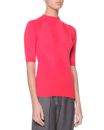 Cashmere Azure Knitted Mock-Neck Sweater, Red