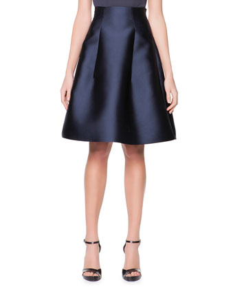 High-Waist Silk Gazar Full A-Line Skirt, Navy