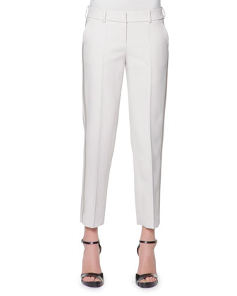 Satin Side-Striped Tailored Gabardine Pants, Cream
