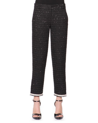 Boucle Pants with Ankle Slits, Black