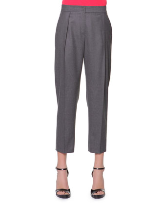 Micro Pleat Flannel Gabardine Ankle Pants, Charcoal