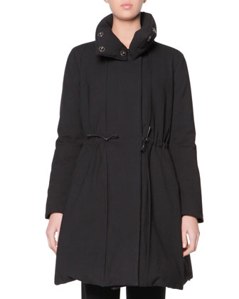 Reversible Goose Down Long Puffer Coat & Stretch Wool Cuffed Straight-Leg ...