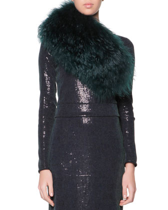 Curly Lamb Shearling Collar & Long-Sleeve Sequined Midi Dress