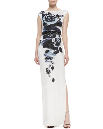 Rose Blossom Print Jacquard Knit Gown with Sequined Liquid Satin Waist Band ...