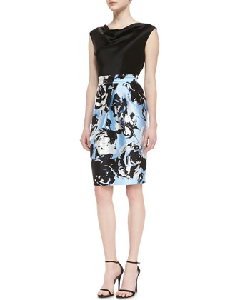 Liquid Satin Cap Sleeve Dress with Contrast Sateen Milano Knit Skirt