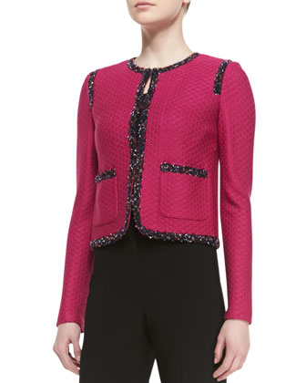 Crossed Throw Knit Jacket with Patch Pockets & Braided Trim