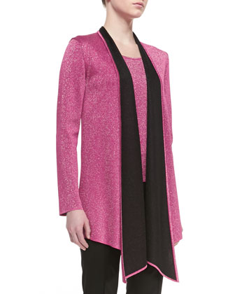 Double Face Sparkle Knit Draped Reversible Cardigan