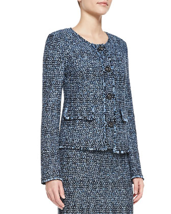 Shimmer Boucle Herringbone Tweed Knit Jacket with Fringe & Pocket Flaps