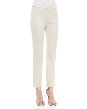 Stretch Milano Knit Cropped Pant with Front and Back Pintucks