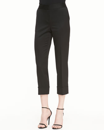 Cropped Trousers with Cuff, Caviar