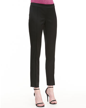 Structured Stretch Satin Pintuck Ankle Pant