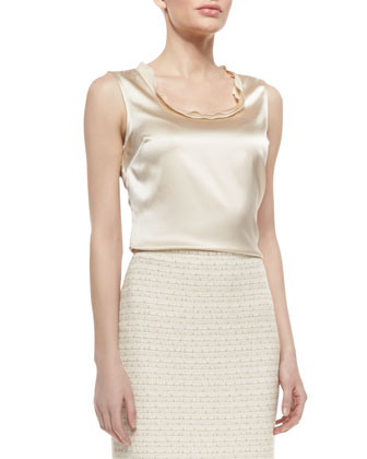 Stretch Silk Charmeuse Shell With Neckline Trim