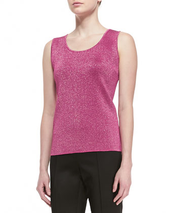Double Face Sparkle Knit Reversible Shell, Raspberry/Caviar