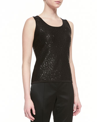 Loose-Fit Button-Up Cardigan & Sleeveless Scoop-Neck Tank with Sequins