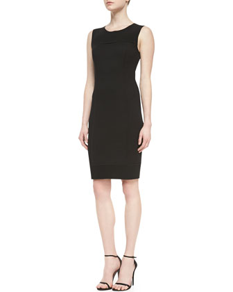 Milano Pique Knit Dress With Crepe Marocain Panels