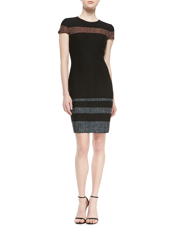 Womens Tweed Engineered Stripe Knit Jewel Neck Cap Sleeve Dress   St. John