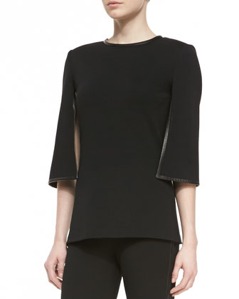 3/4-Sleeve Blouse & Cropped Trousers with Leather Trim