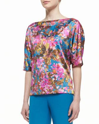 Botanica Print Silk Strech Charmeuse Bateau Neck Batwing Sleeve Blouse