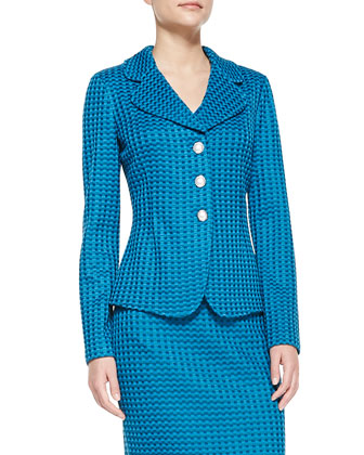 3-Button Woven Blazer, Sleeveless Satin V-Neck Tank & Pencil Skirt