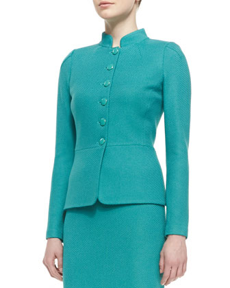 5-Button Peplum Jacket, Sleeveless Crewneck Blouse & Pencil Skirt
