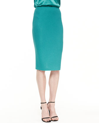 Sheen Dash Knit Pencil Skirt with Back Slit