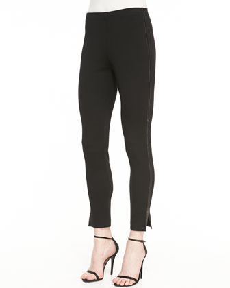 Stretch Milano Knit Legging with Soft Napa Leather Binding & Elastic ...