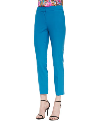 Modern Stretch Tropical Wool Cropped Pant with Pockets