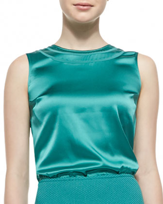 Sleeveless Crewneck Blouse, Verde