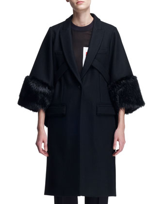 3/4-Sleeve Fur-Cuff Coat, Sheer Snap-Pocket Tee & V-Panel Colorblock Trousers