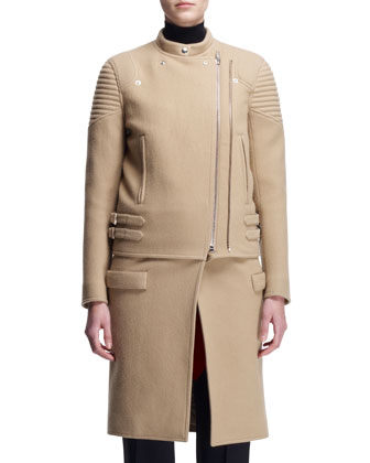 Double-Zip Long Moto Coat