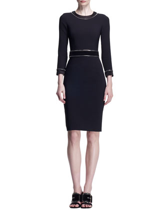 3/4-Sleeve Zipper-Trim Dress