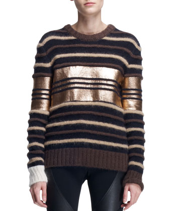 Coated Copper Stripe Sweater