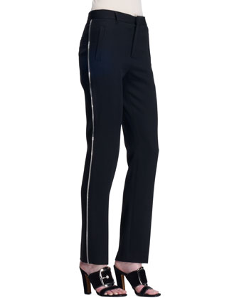 Side-Zipper Wool Pants