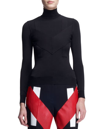 Double-Zip Long Moto Coat, Inlay Jersey Turtleneck & V-Panel Colorblock ...