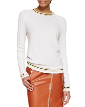 Long-Sleeve Cashmere Knit Pullover Sweater & Moto Leather Pencil Skirt