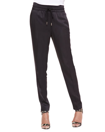 Drawstring Slim Jogging Pants, Black