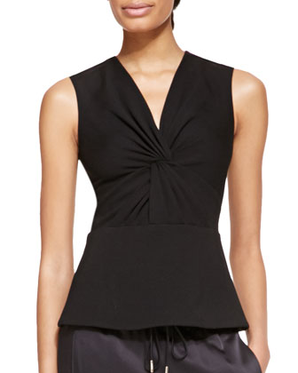 Sleeveless Ponte Jersey Twist Top, Black