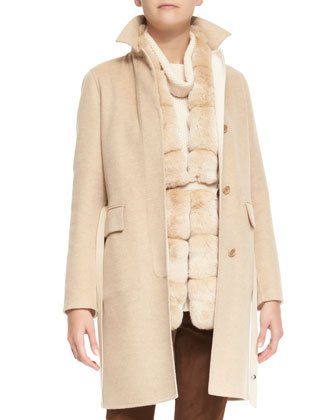 Winter Lanford Cashmere Coat, Paris Belted Fur-Trim Cashmere Vest & Tunica ...