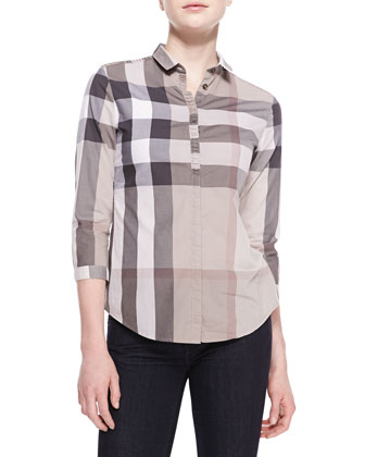 Poplin Check Button-Up Top, Pale Trench