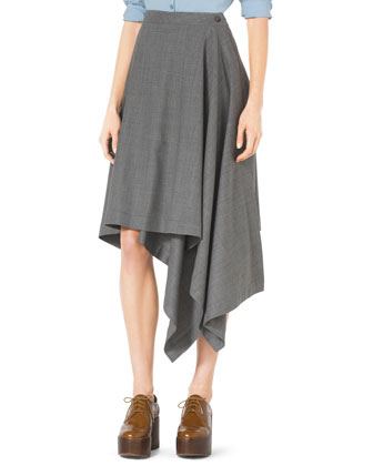 Asymmetric Draped Stretch-Wool Skirt