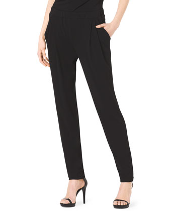 Jersey Cowl-Neck Top & Pleat-Front Stretch-Jersey Pants