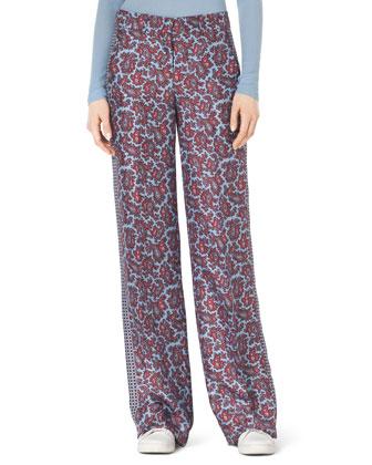 Paisley-Print Silk Pants