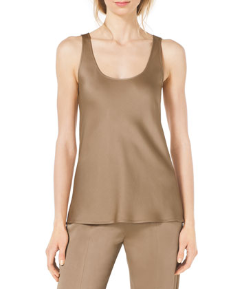 Sleeveless Scoop-Neck Satin Tank