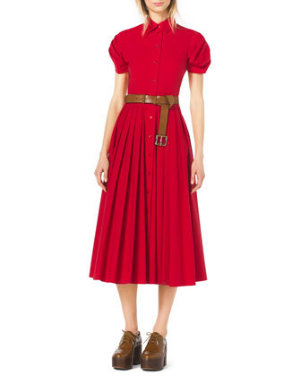 Twist-Sleeve Pleated Dress, Leather Skinny Belt, Silvia Pointed-Toe T-Strap ...